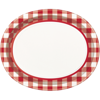 Picture of RED AND WHITE CHECK OVAL PLATES - 8CT