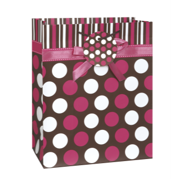 Picture of PINK DOTS BOW  LG GIFT BAG