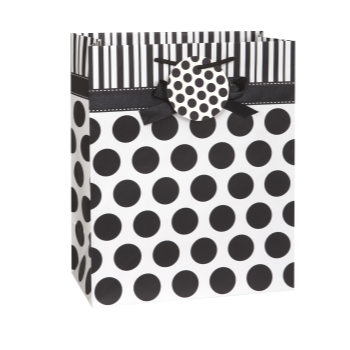 Picture of BLACK DOTS BOW LG GIFT BAG