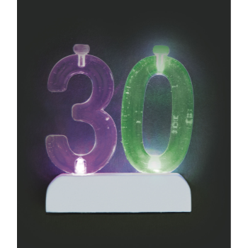 Image de 30th NUMERAL FLASHING CANDLE