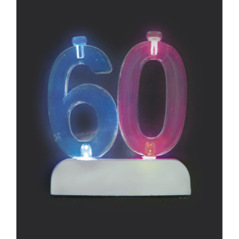 Image de 60th - NUMERAL FLASHING CANDLE