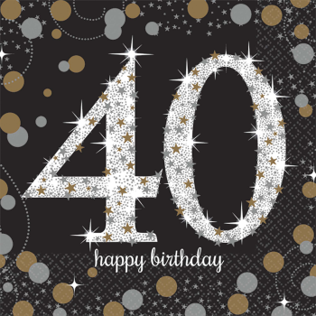 Picture of 40th - SPARKLING CELEBRATION BEVERAGE NAPKIN