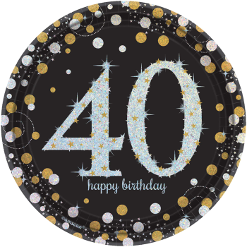 "Picture of 40th - SPARKLING CELEBRATION 7"" PRISM PLATE"