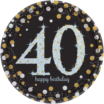 "Picture of 40th - SPARKLING CELEBRATION - 9"" PRISM PLATE"