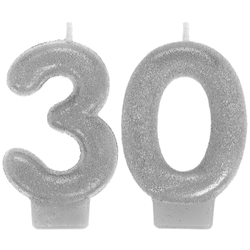 Image de 30th - SILVER NUMERAL CANDLE