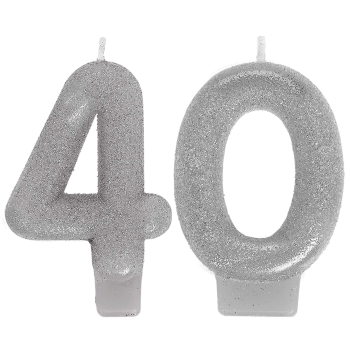 Image de 40th - SILVER NUMERAL CANDLE