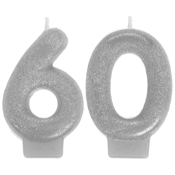 Image de 60th -SILVER NUMERAL CANDLE