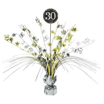 Picture of 30th SPRAY CENTERPIECE - SILVER/GOLD/BLACK
