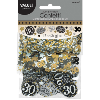Picture of 30th CONFETTI - 3PK BLACK/GOLD/SILVER
