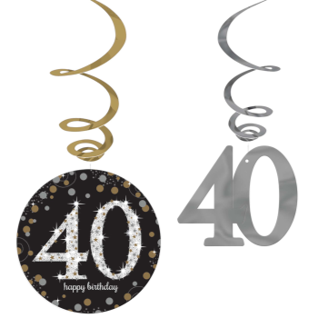 Picture of 40th - HANGING SWIRL - BLACK/GOLD/SILVER