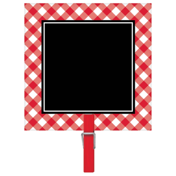 Picture of SQUARE RED GINGHAM CHALKBOARD CLIPS 8CT