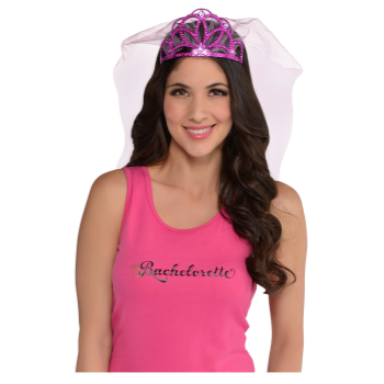 Picture of HOT PINK TIARA WITH VEIL