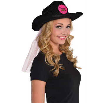 Picture of BLACK COWBOY HAT W/ VEIL - FUTURE MRS