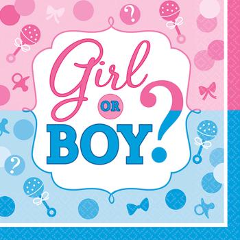Picture of GENDER REVEAL - GIRL OR BOY?  BEVERAGE NAPKIN