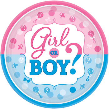 """Picture of GENDER REVEAL - GIRL OR BOY?  7"""" PLATE"""