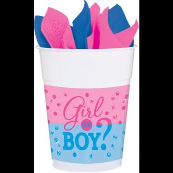 Image de GENDER REVEAL - GIRL OR BOY? PLASTIC 16OZ CUPS