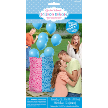Image de GENDER REVEAL - BOY GIFT SACK WITH  BALLOONS