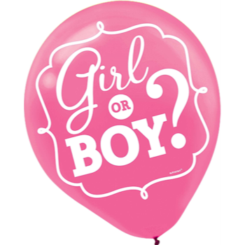 """Picture of GENDER REVEAL - GIRL OR BOY? 12"""" LATEX BALLOONS"""