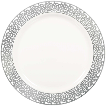 "Picture of 7"" WHITE PLS PLATES W/ SILVER LACE BORDER 20CT"