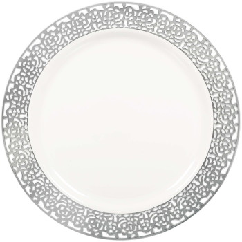 "Picture of 10"" WHITE  PLASTIC PLATES WITH SILVER LACE BORDER"