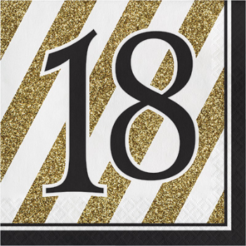Picture of 18th BLACK AND GOLD BIRTHDAY LUNCHEON NAPKIN