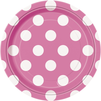 """Picture of HOT PINK DOTS  7"""" PLATES"""