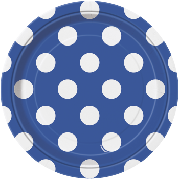 """Picture of ROYAL BLUE DOTS  7"""" PLATES"""