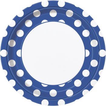 """Picture of ROYAL BLUE DOTS  9"""" PLATES"""