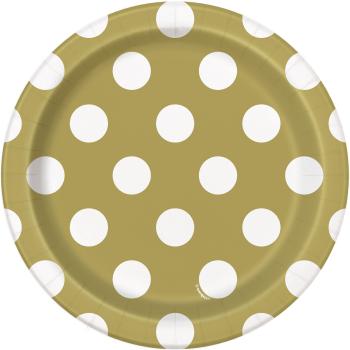 "Picture of GOLD DOTS  7"" PLATES"