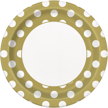 "Picture of GOLD DOTS  9"" PLATES"