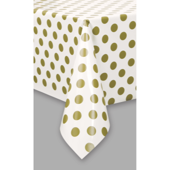 Picture of GOLD DOTS  PLASTIC TABLECLOTH