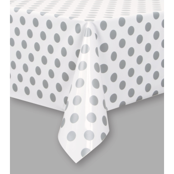 Picture of SILVER DOTS  PLASTIC TABLECLOTH