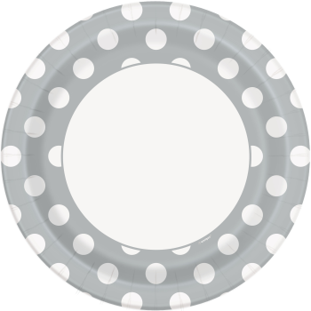 """Picture of SILVER DOTS  9"""" PLATES"""