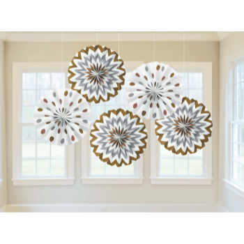 Image de SILVER AND GOLD DOTS AND CHEVRON FANS