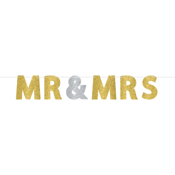 Image de MR AND MRS LETTER BANNER GOLD/SILVER GLITTER