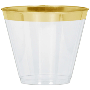 Picture of 9OZ CLEAR TUMBLERS W/ GOLD TRIM 24/PK