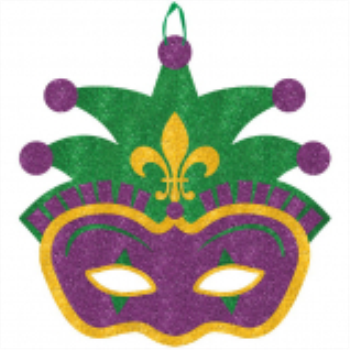 Picture of GLITTER JESTER MASK HANGING DECO