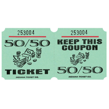 Image de 50/50 TICKETS ROLL GREEN -   (1000/rl)