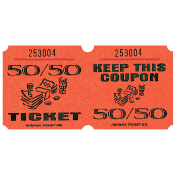 Picture of 50/50 TICKETS ROLL ORANGE -   (1000/rl)