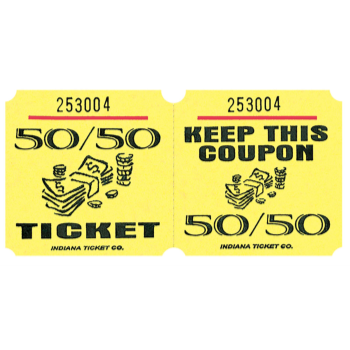 Image de 50/50 TICKETS ROLL YELLOW -   (1000/rl)
