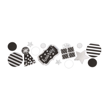 Picture of BLACK AND WHITE HOORAY CONFETTI VALUE PACK