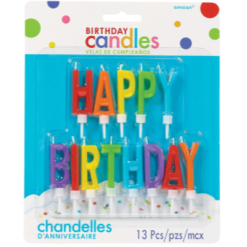 Picture of HAPPY BIRTHDAY LETTER CANDLES PRIMARY COLORS