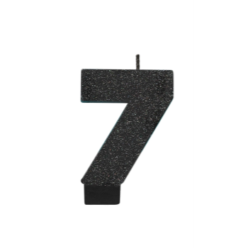 Picture of BLACK GLITTER NUMERAL #7 CANDLE