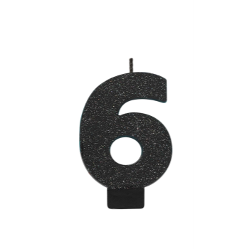 Picture of BLACK GLITTER NUMERAL #6 CANDLE