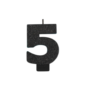 Picture of BLACK GLITTER NUMERAL #5 CANDLE