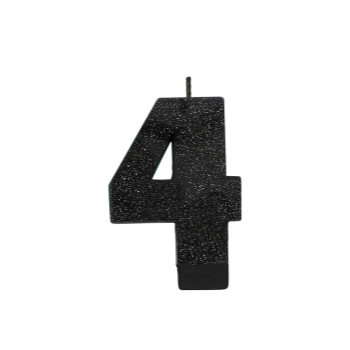 Picture of BLACK GLITTER NUMERAL #4 CANDLE