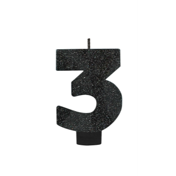 Picture of BLACK GLITTER NUMERAL #3 CANDLE