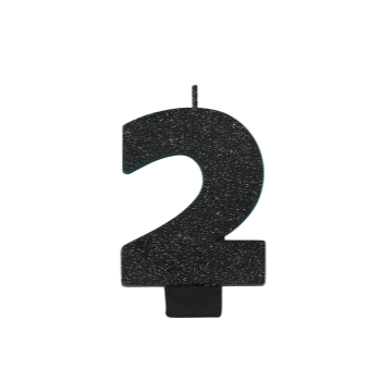 Picture of BLACK GLITTER NUMERAL #2 CANDLE
