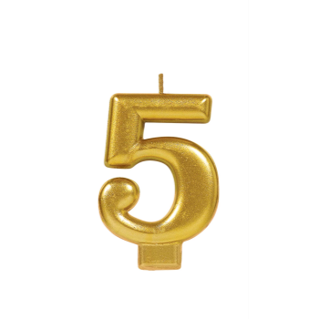 Picture of GOLD METALLIC NUMERAL #5 CANDLE