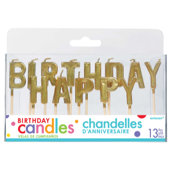 Picture of HAPPY BIRTHDAY GOLD PICK CANDLES